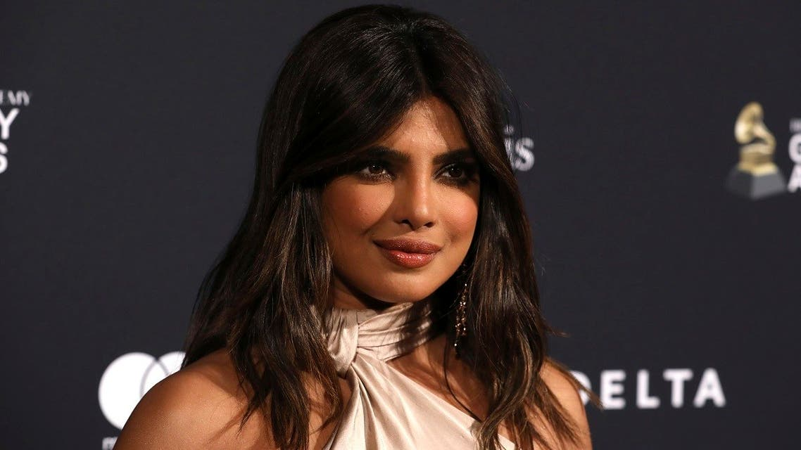 Priyanka Chopra Jonas arrives at the Pre-Grammy Gala And Salute To Industry Icons at the Beverly Hilton Hotel on January 25, 2020, in Beverly Hills, California. (AP)
