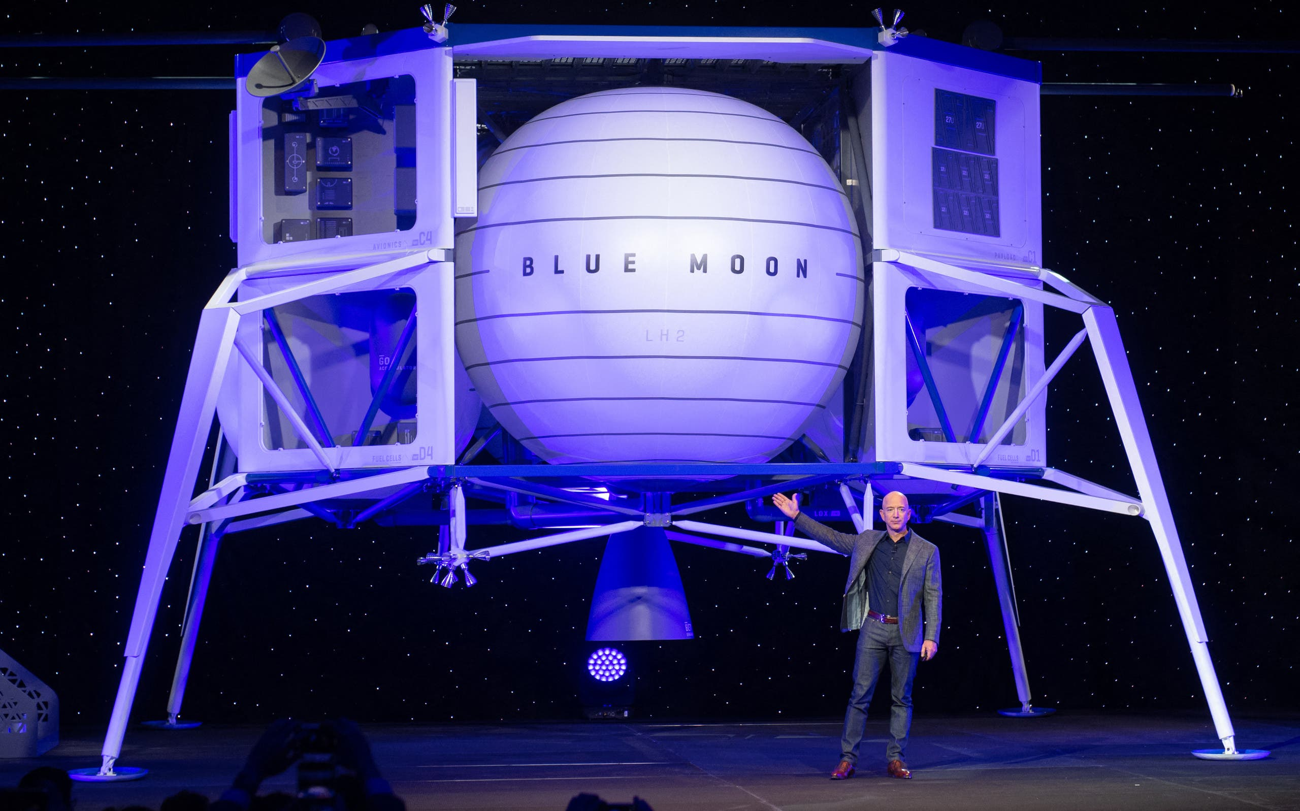In this file photo taken on May 09, 2019, Amazon CEO Jeff Bezos announces Blue Moon, a lunar landing vehicle for the Moon, during a Blue Origin event in Washington, DC. (AP)