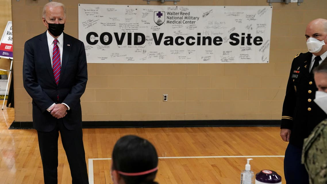 FILE PHOTO: U.S. President Joe Biden visits a coronavirus disease (COVID-19) vaccination site during a visit to Walter Reed National Military Medical Center in Bethesda, Maryland, U.S., January 29, 2021. REUTERS/ Kevin Lamarque/File Photo/File Photo