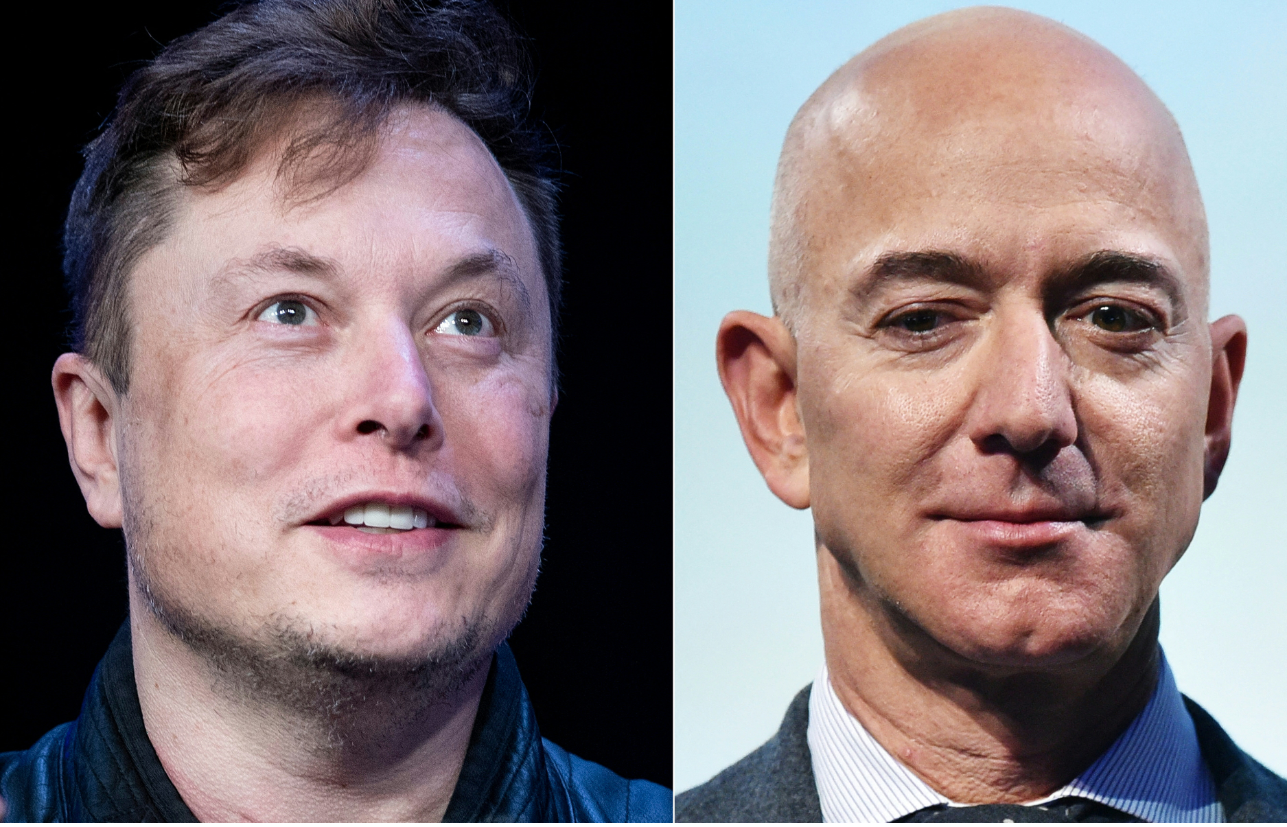 SpaceX founder Elon Musk (left) and Blue Origin founder Jeff Bezos (right). (File photos: AFP)