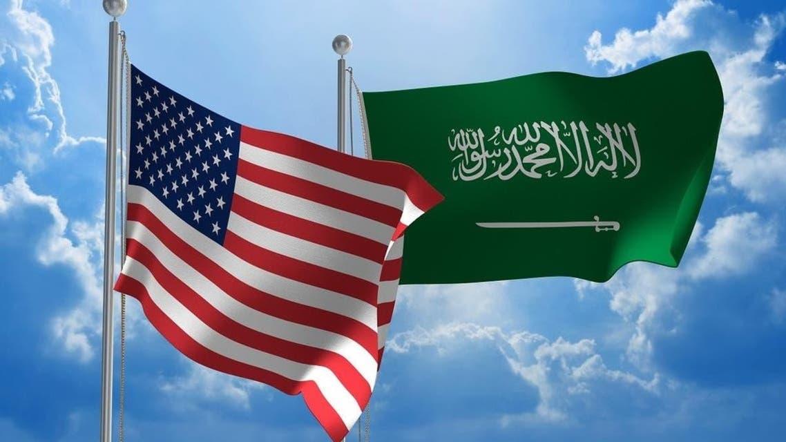 پرچم آمریکا و سعودی