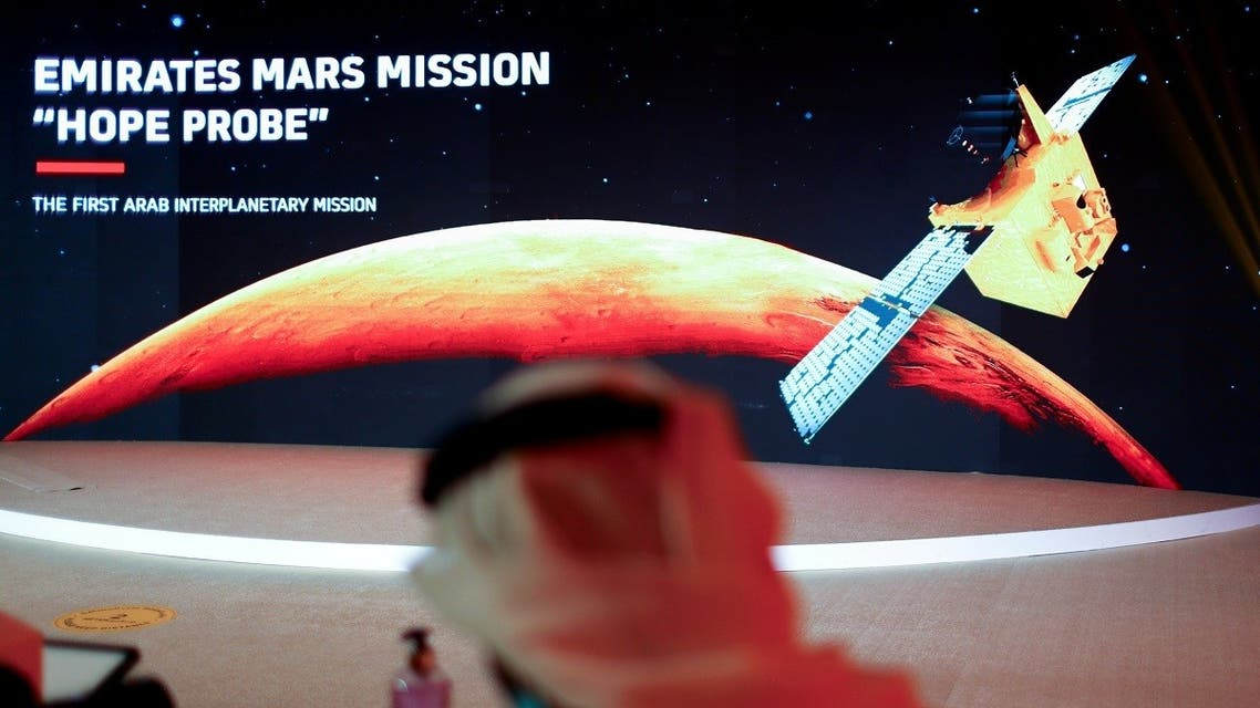 A representation of Mars and the Hope Probe is seen at the Mohammed bin Rashid Space Centre ahead of its launch from Tanegashima Island in Japan, in Dubai, United Arab Emirates July 19, 2020. (Reuters)