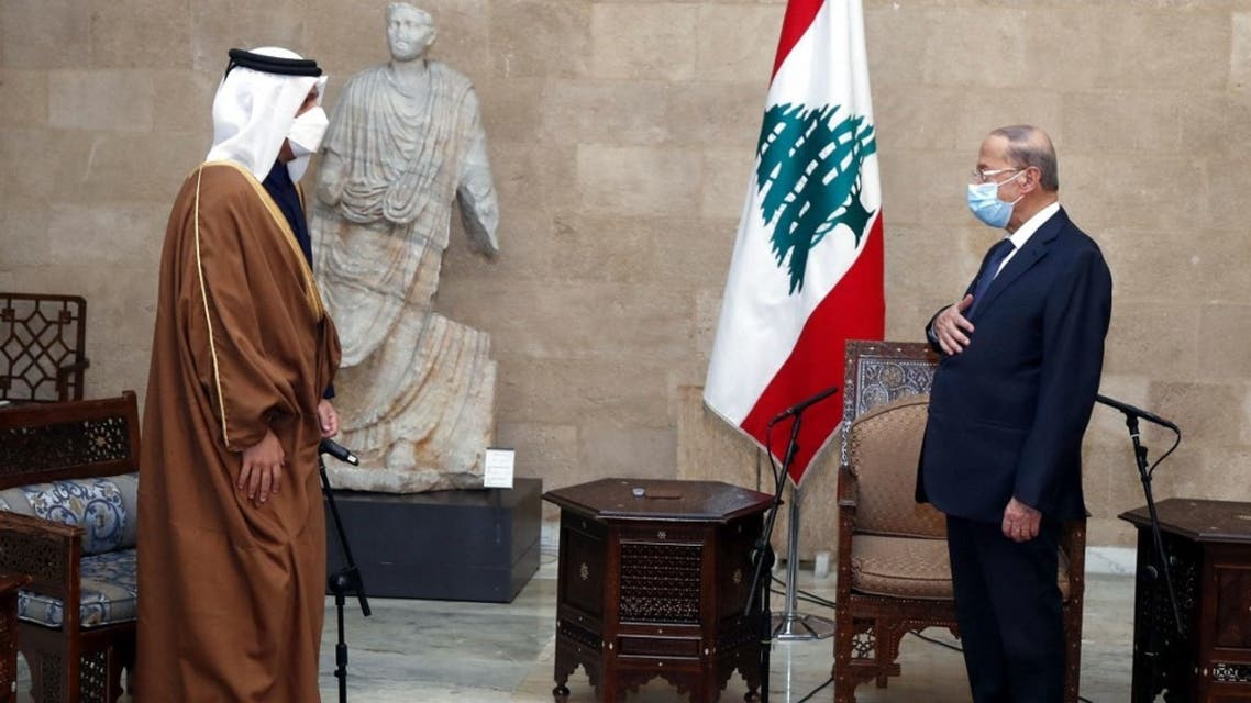 Lebanon's President Michel Aoun (R) meeting with Qatar's Foreign Minister Mohammed bin Abdulrahman Al Thani at the presidential palace in Baabda, east of the capital, on February 9, 2021. (AFP)