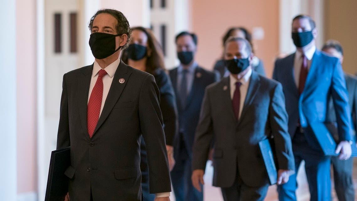 Rep. Jamie Raskin, the lead impeachment manager, and his team arrive to begin the second impeachment trial of former President Donald Trump, Feb. 9, 2021. (AP)