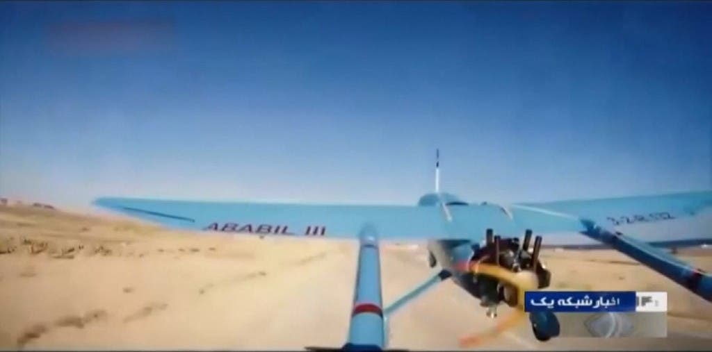 An image grab taken from undated footage aired by Iran Broadcasting (IRIB) televison on April 28, 2019, shows an alleged Iranian Revolutionary Guards' drone, named Ababil III, taking off from an undisclosed location. (AFP)