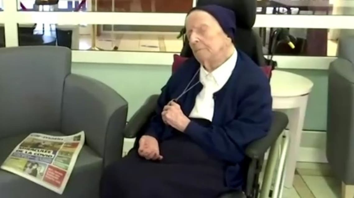 A screengrab from a video of French nun Sister Andre who has survived COVID-19 and will celebrate her 117th birthday on February 16. (BFMTV via Reuters)