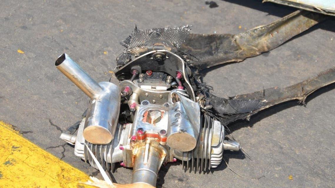 مسيرة حوثية طائرة حوثية درون  الطائرة بدون طيار المفخخة من نوع قاصف وهي نسخة من الطائرة بدون طيار الإيرانية أبابيل تي