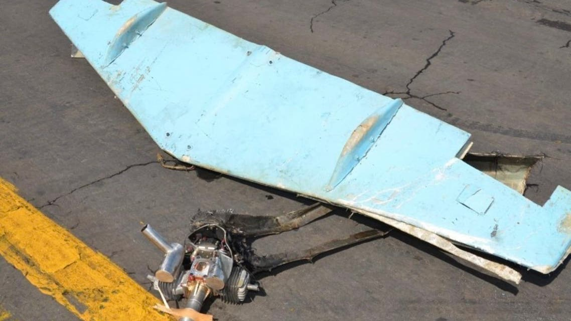 Remnants of the wreckage from the explosive drone that tried to target Abha Int'l Airport in Saudi Arabia. (Twitter/@SaudiEmbassyUSA)