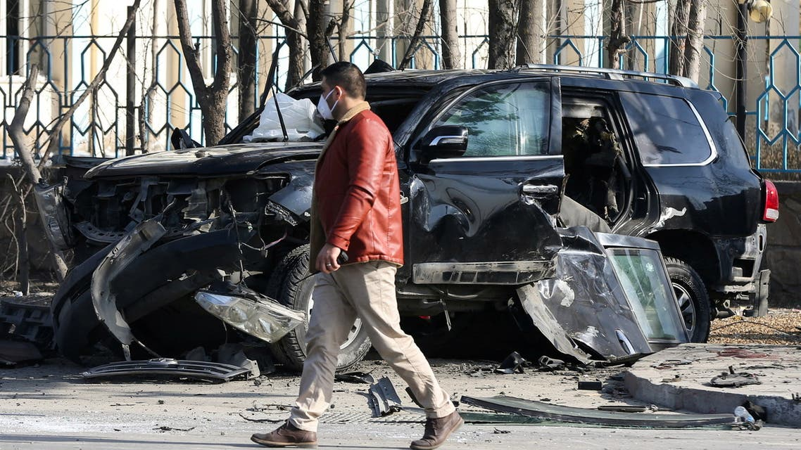 An Afghan security official inspects the site of a bomb blast in Kabul, Afghanistan February 9, 2021. (Reuters)
