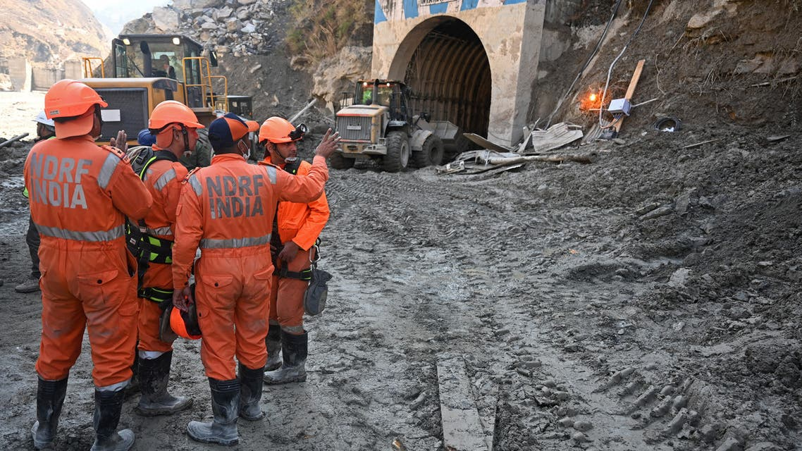 A rescue operation outside the entrance of a tunnel where dozens were trapped following the Himalaya glacier disaster. (File photo: AFP)