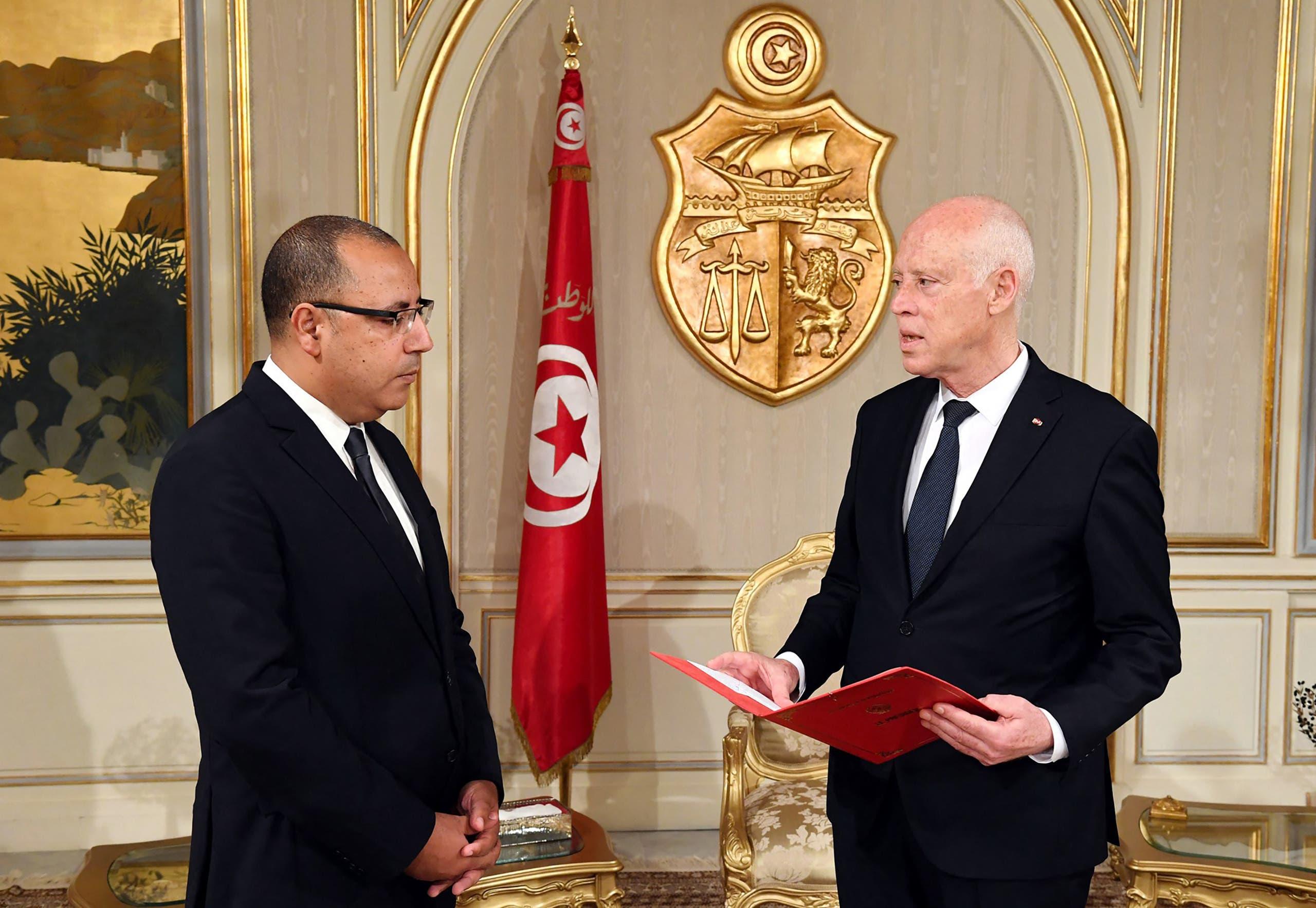 قيس سعيّد وهشام المشيشي (أرشيفية)