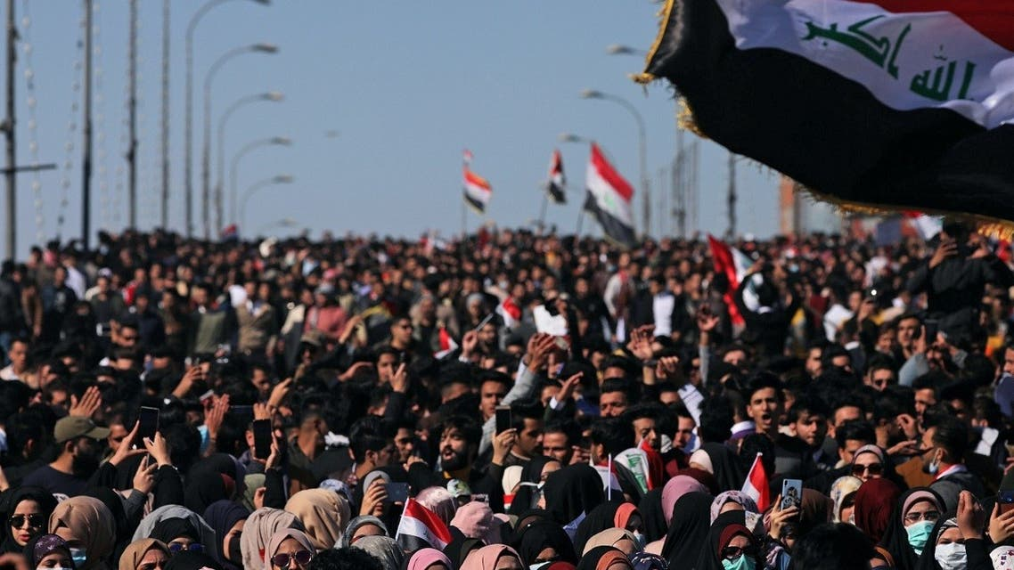 University students shout slogans during ongoing anti-government protests in Karbala, Iraq Jan. 26, 2020. (Reuters)