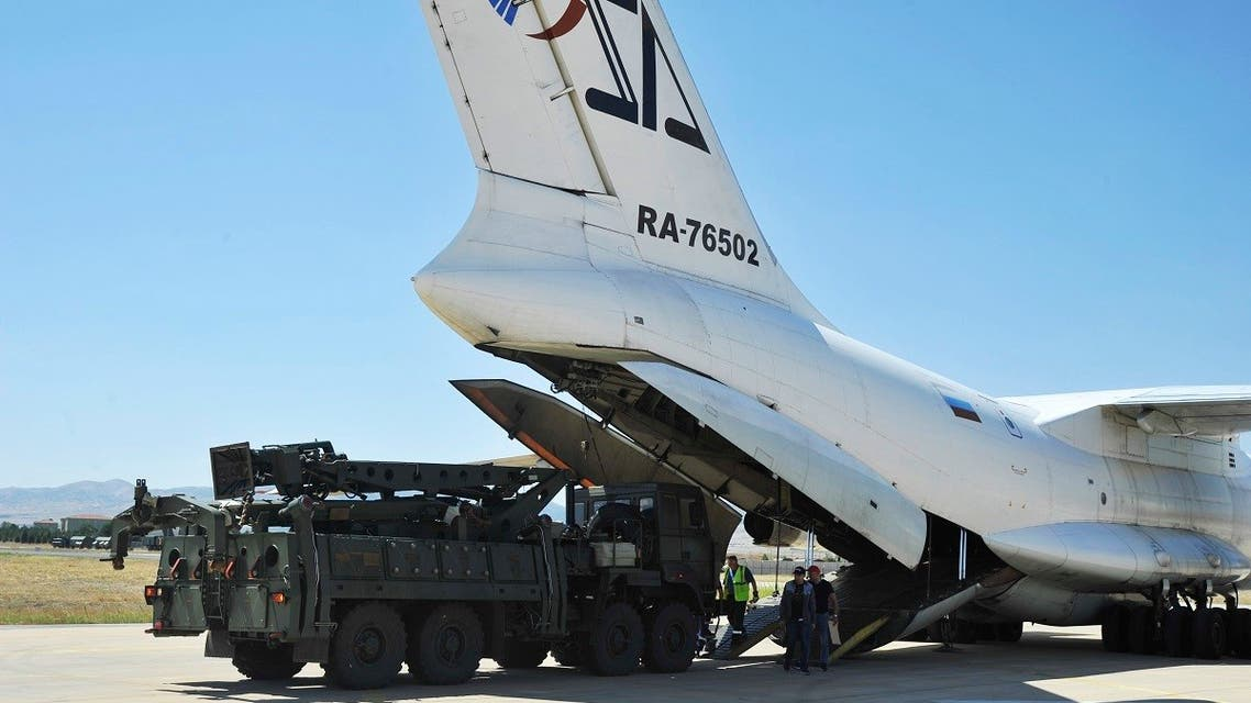 A Russian transport aircraft, carrying parts of the S-400 air defense systems, lands at Murted military airport outside Ankara, Turkey, Aug. 27, 2019. (AP)