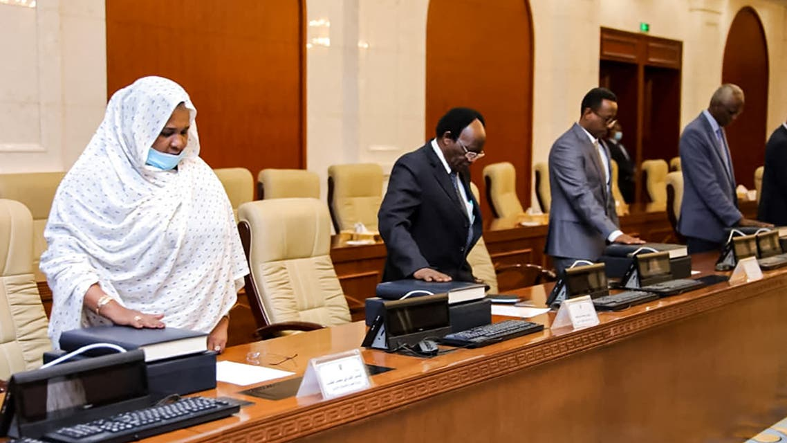 This handout picture provided by the Sudanese Presidency's media office on February 10, 2021 shows new ministers being sworn-in during in the capital Khartoum. (AFP)
