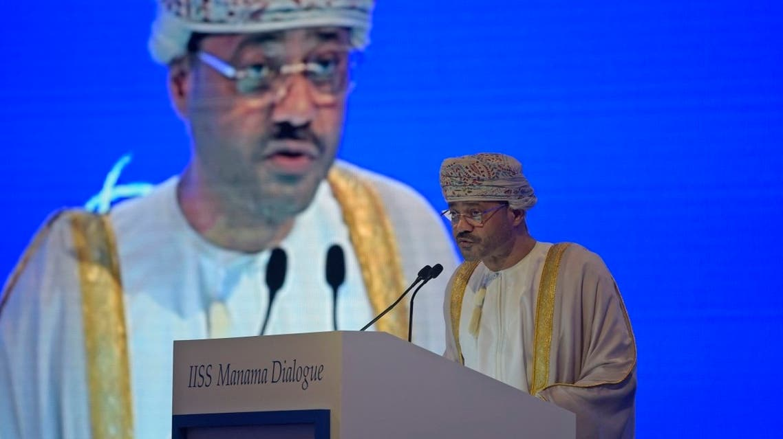 Oman's Minister of Foreign Affairs Sayyid Badr bin Hamad bin Hamood al-Busaidi addresses the Manama Dialogue security conference in the Bahraini capital, on December 5, 2020. (AFP)