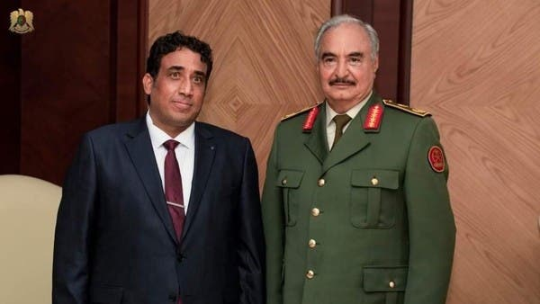 حفتر يؤكد للمنفي دعم الجيش الليبي له وللحكومة الجديدة