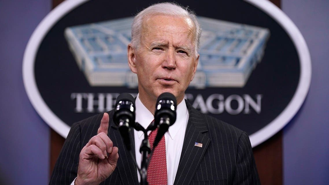 President Joe Biden speaks to Department of Defense personnel at the Pentagon, Feb. 10, 2021, in Washington. (AP)