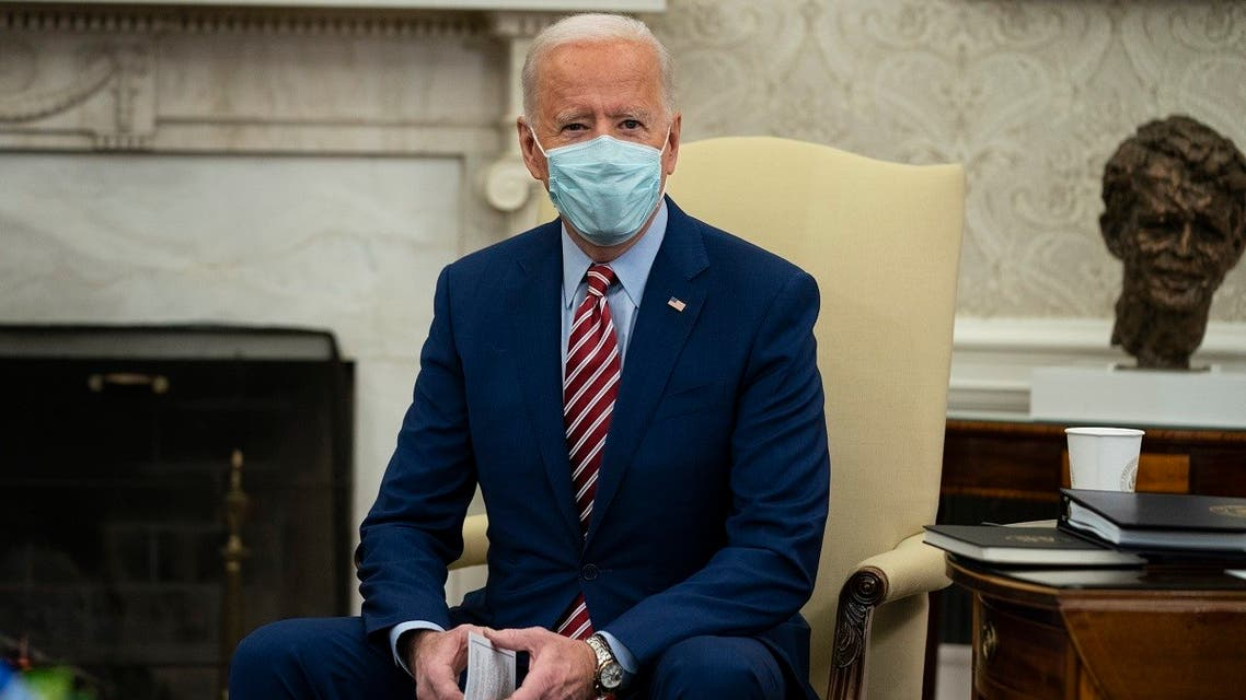 US President Joe Biden speaks during a meeting with lawmakers on investments in infrastructure, in the Oval Office of the White House, Feb. 11, 2021. (AP)