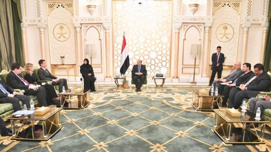 The Yemeni President during his meeting with US special envoy to Yemen Timothy Lenderking. (Supplied)