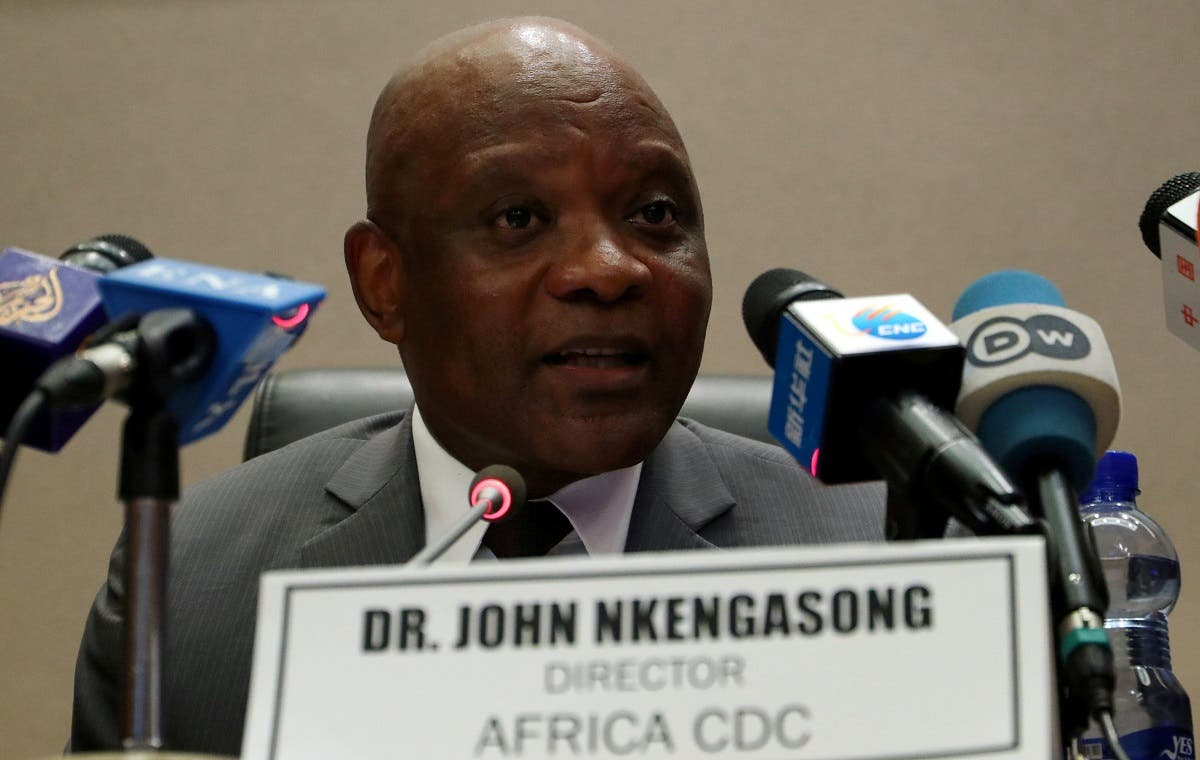John Nkengasong, Africa's Director of Centers for Disease Control (CDC), speaks during a news conference at the African Union Headquarters in Addis Ababa, Ethiopia. (Reuters)