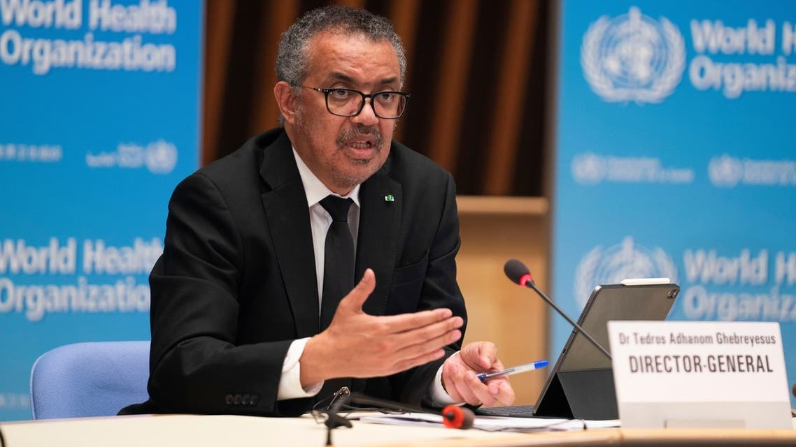 Tedros Adhanom Ghebreyesus, Director General of the World Health Organization (WHO) attends a news conference on the outbreak of coronavirus disease (COVID-19) after the return of the team of the WHO-convened global study of the origins of SARS-CoV-2 in Geneva, Switzerland, February 12, 2021. Christopher Black/World Health Organization/Handout via REUTERS THIS IMAGE HAS BEEN SUPPLIED BY A THIRD PARTY. NO RESALES. NO ARCHIVES