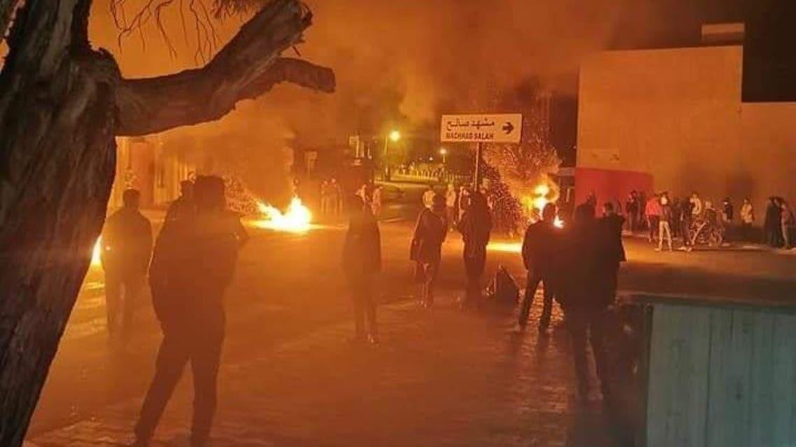 من الاحتجاجات مساء الخميس في تطاوين  11 فبراير2021