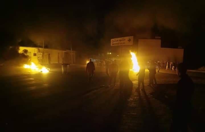 من الاحتجاجات مساء الخميس في تطاوين