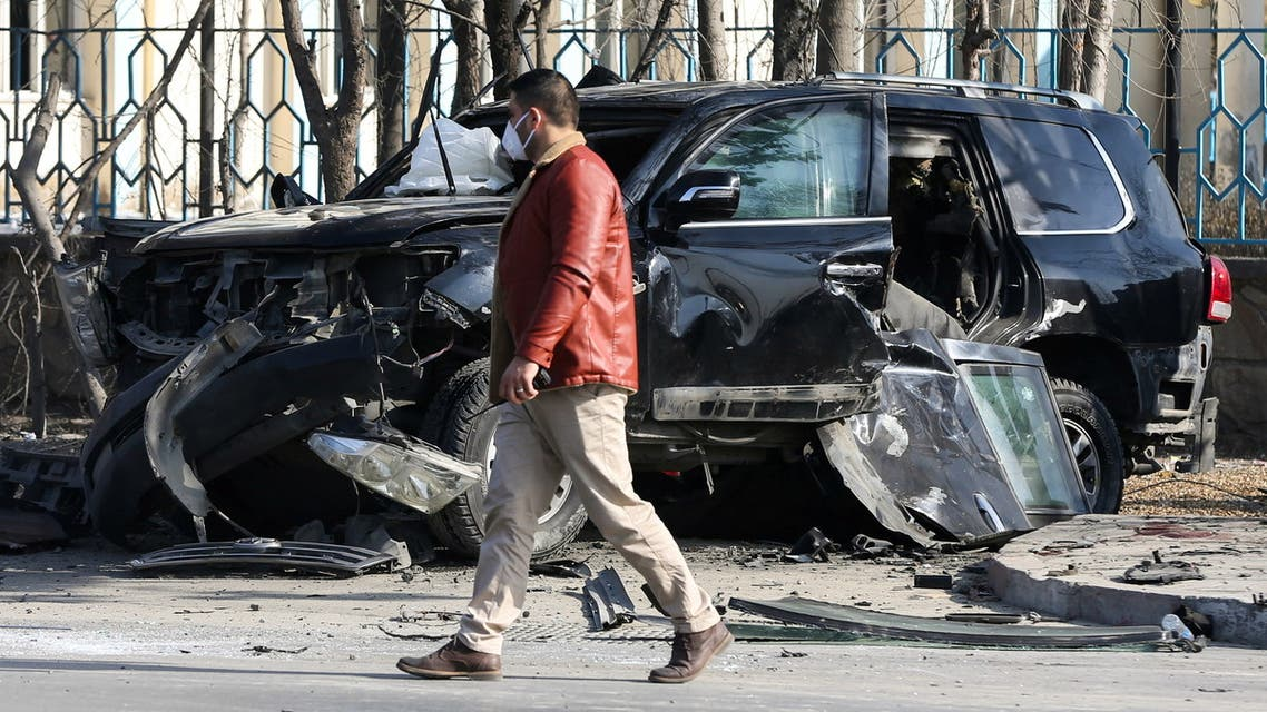 An Afghan security official inspects the site of a bomb blast in Kabul, Afghanistan February 9, 2021. REUTERS/Omar Sobhani