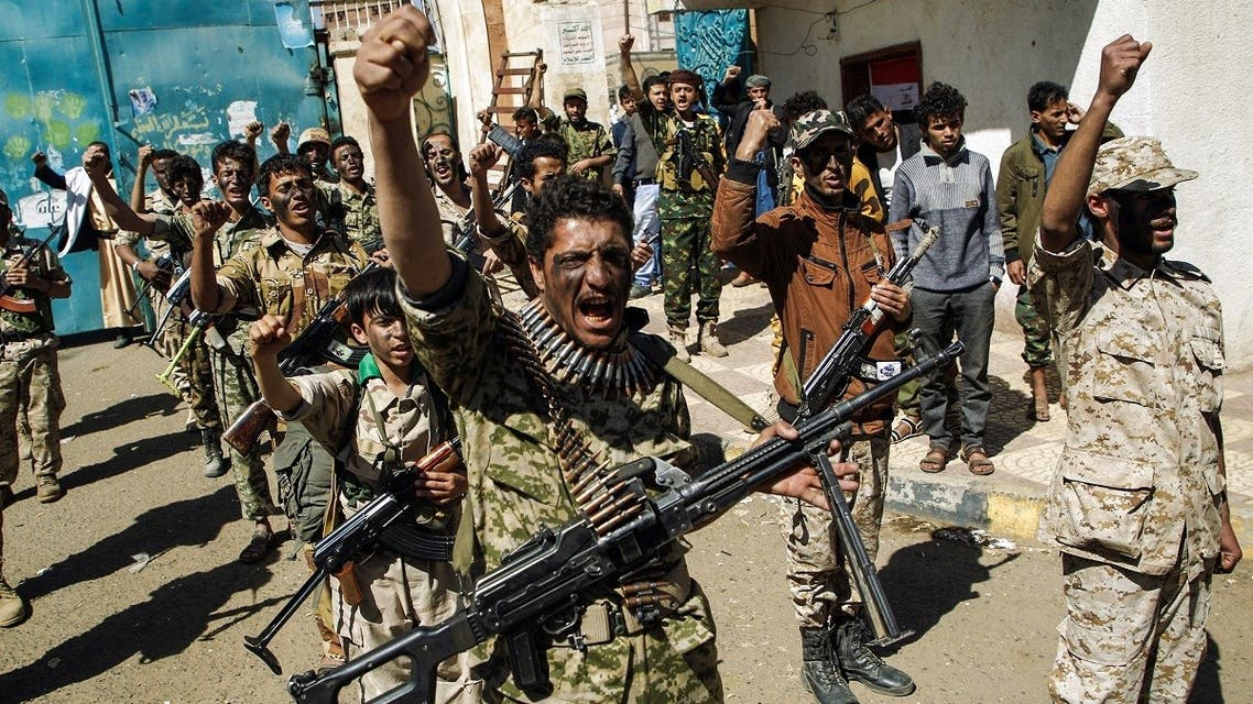 Newly recruited Houthi fighters chant slogans during a gathering in the capital Sanaa to mobilize more fighters. (File Photo: AFP)