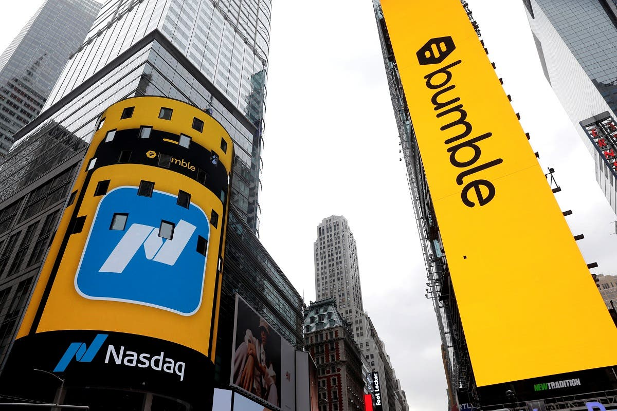 Displays outside the Nasdaq MarketSite are pictured as dating app operator Bumble Inc. (BMBL) made its debut on the Nasdaq stock exchange during the company's IPO in New York City, New York, U.S., February 11, 2021. (Reuters)