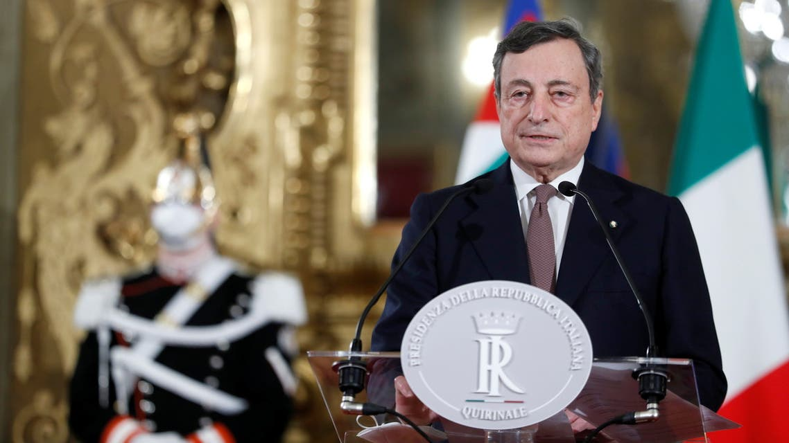 Incoming Italian Prime Minister Mario Draghi speaks to the media after meeting with Italian President Sergio Mattarella, in Rome, Italy, February 12, 2021. REUTERS/Yara Nardi/Pool