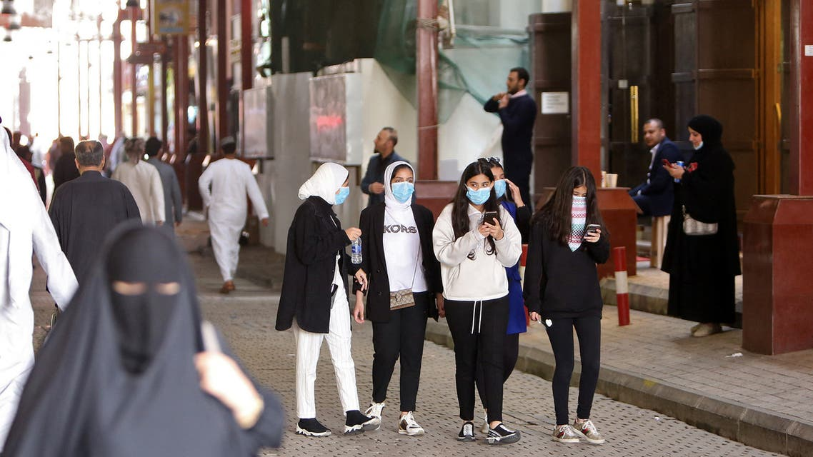 Kuwaiti women wear protective masks at the Mubarakiya Market in Kuwait City on February 24, 2020. (AFP)