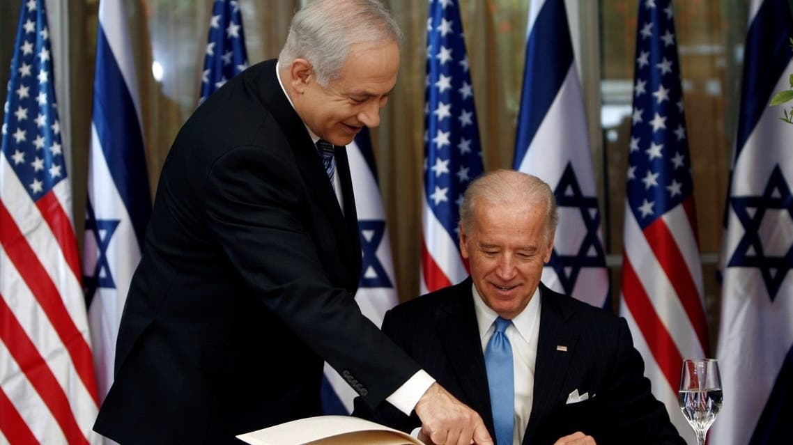 Then-US VP Joe Biden meets with Israel's PM Benjamin Netanyahu at Netanyahu's residence in Jerusalem March 9, 2010. (Reuters)