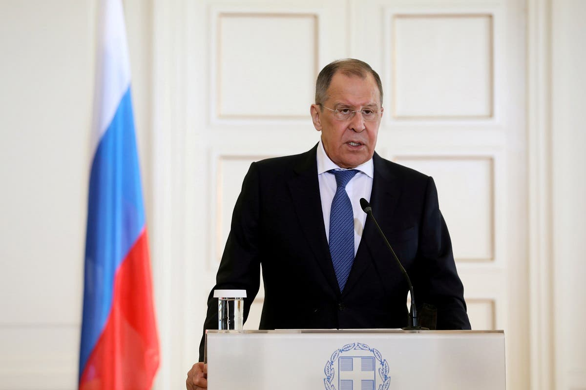 Russian Foreign Minister Sergei Lavrov speaks during a news conference in Athens, Greece, October 26, 2020. (Reuters/Costas Baltas)