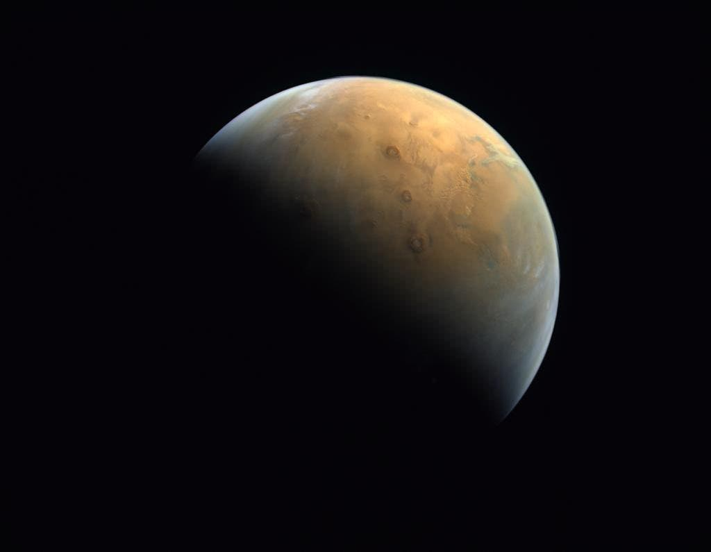 """The first picture of Mars captured by the UAE's """"Hope"""" probe of the planet's surface. (Via @HHShkMohd Twitter)"""