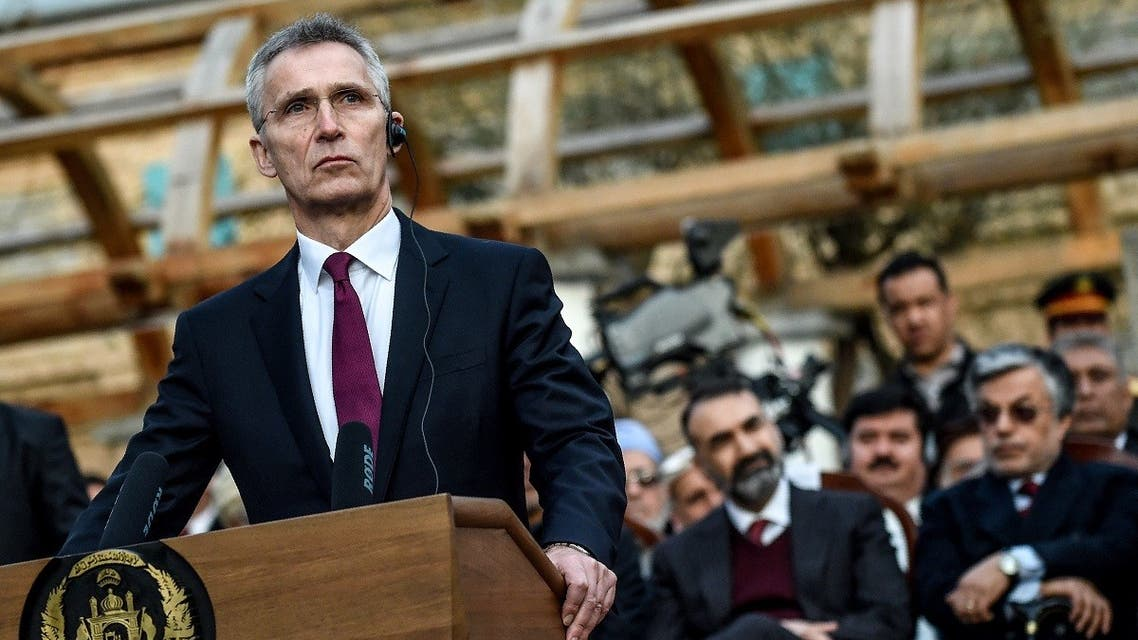 NATO Secretary General Jens Stoltenberg attends a press conference along with Afghanistan's President Ashraf Ghani and former US Secretary of Defense Mark Esper at the presidential palace in Kabul on February 29, 2020. (Wakil Kohsar/AFP)