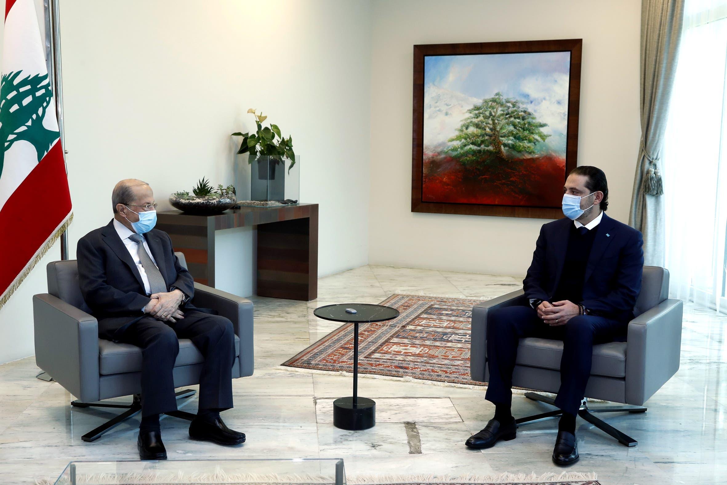 لقاء الحريري وعون بالقصر الجمهوري في بعبدا يوم 12 فبراير