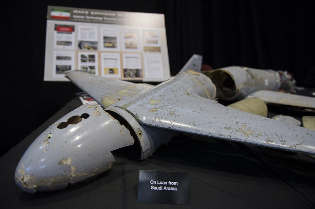 A kamikaze drone is seen on display to prove Iran violated UNSCR 2231 by providing the Houthi rebels in Yemen with arms during a press conference at Joint Base Anacostia in Washington, DC, on December 14, 2017. (AFP)