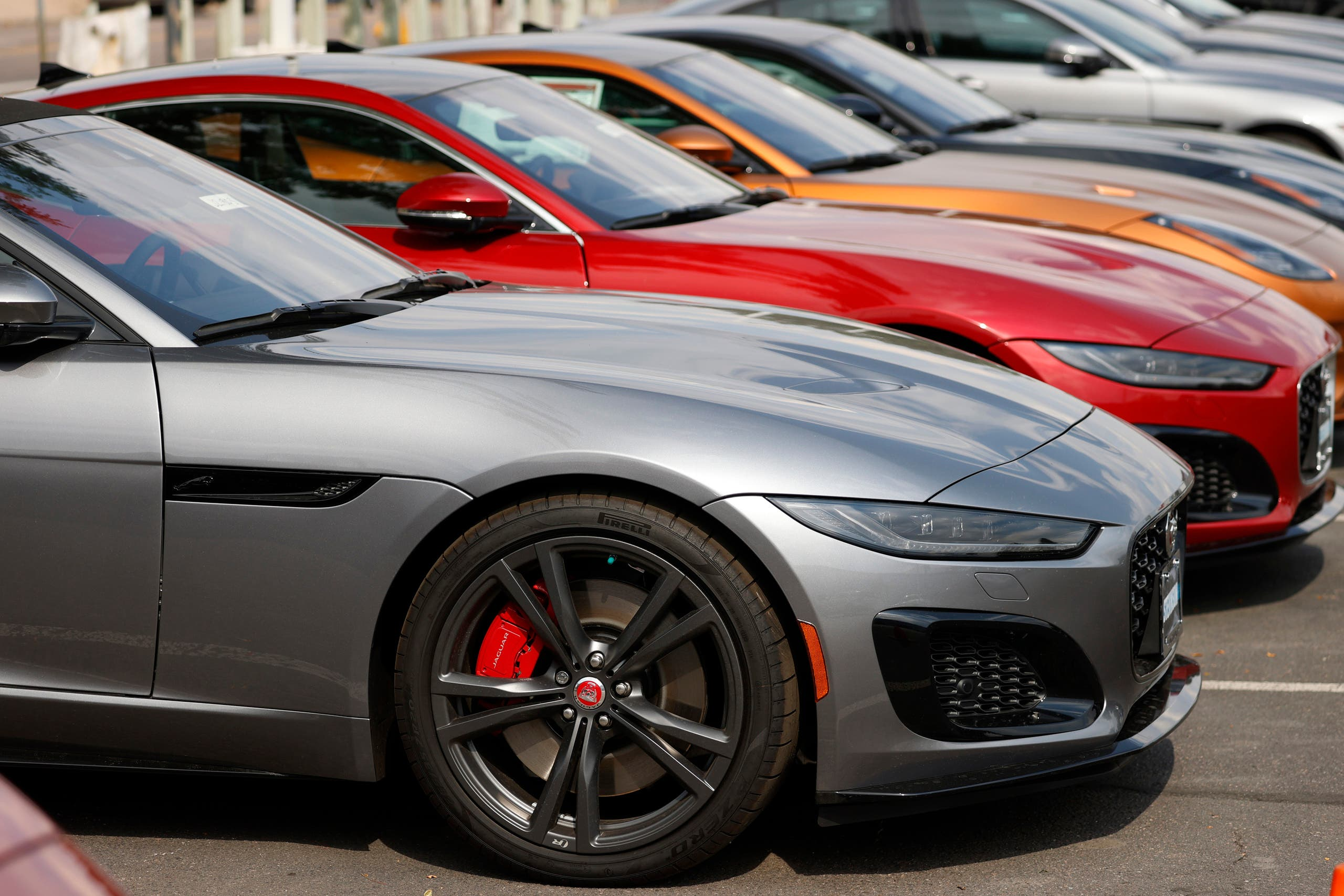 Unsold 2020 F-Type vehicles sit at a Jaguar dealership late Sunday, Aug. 9, 2020, in Littleton, Colo. (AP)