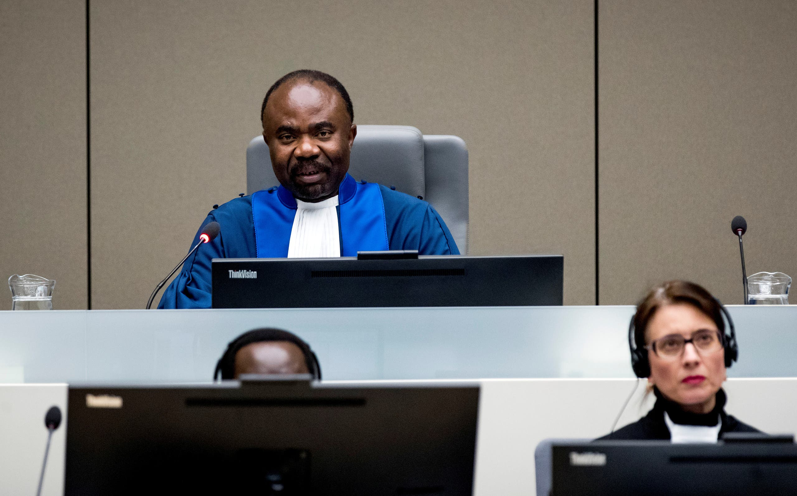 Judge Antoine Kesia-Mbe Mindua is seen while Central African Republic's soccer executive and alleged militia leader, Patrice-Edouard Ngaissona appears before the International Criminal Court (ICC) in The Hague, Netherlands, January 25, 2019. (Reuters)