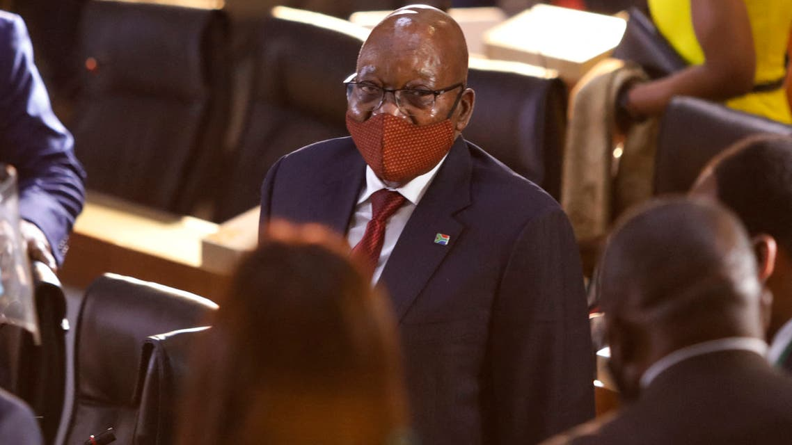 Former South African President Jacob Zuma arrives Commission of Inquiry into State Capture in Johannesburg, on November 16, 2020. (AFP)