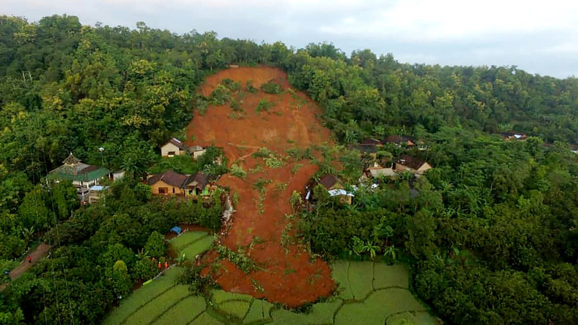This aerial handout photo taken on February 15, 2021 and released by Indonesian National Board for Disaster Management (BNPB) shows the damages from a landslide in Nganjuk, East Java province, where at least two people died and 16 others are missing. (AFP)