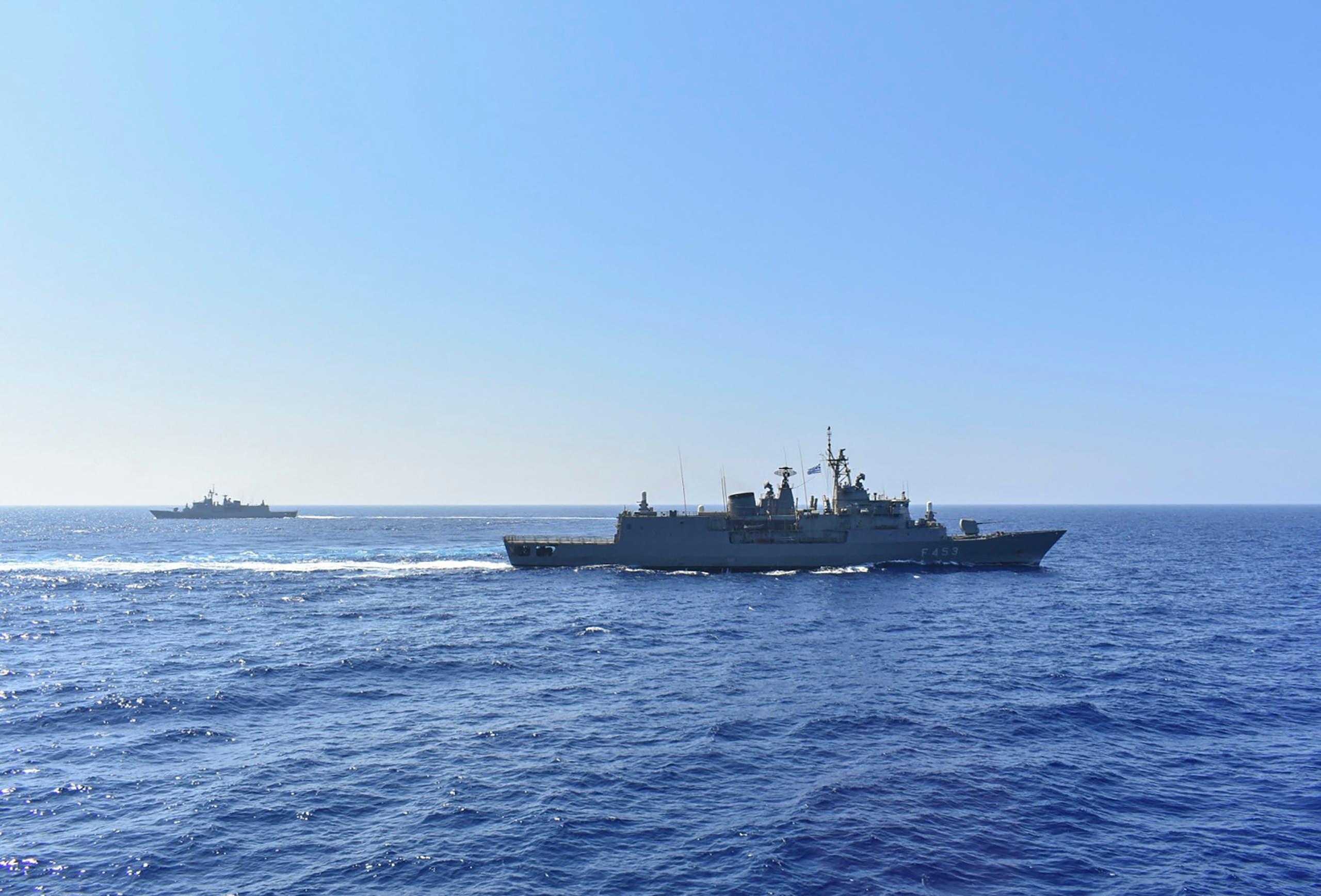 فرقاطة يونانية في شرق البحر الأبيض المتوسط يوم 25 أغسطس 2020