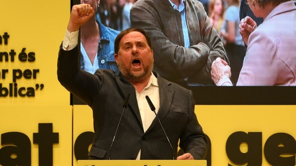 Esquerra Republicana de Catalunya's (ERC) jailed leader Oriol Junqueras, who has been freed temporarily to participate in the electoral campaign, attends an ERC campaign meeting in Badalona on January 29, 2021. (AFP)