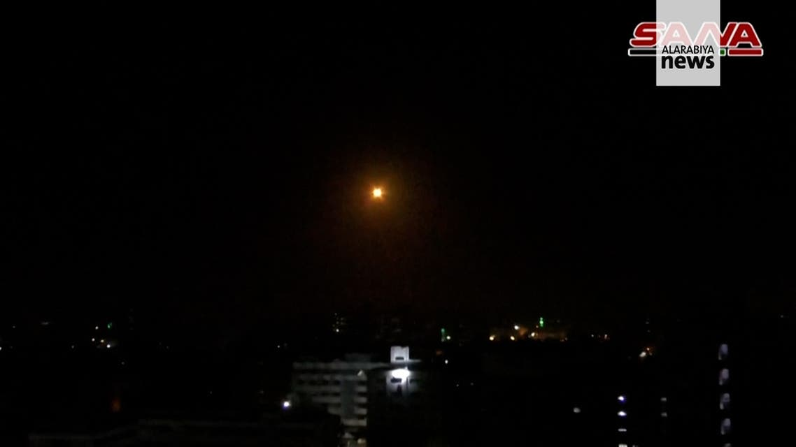 Syria intercepts Israeli missiles over Damascus. (Screengrab)