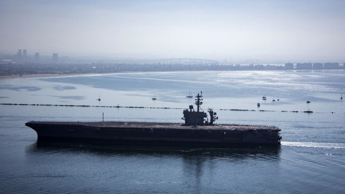 Aircraft carrier USS Theodore Roosevelt returns to Naval Air Station North Island in San Diego, California, on July 9, 2020. (AFP)