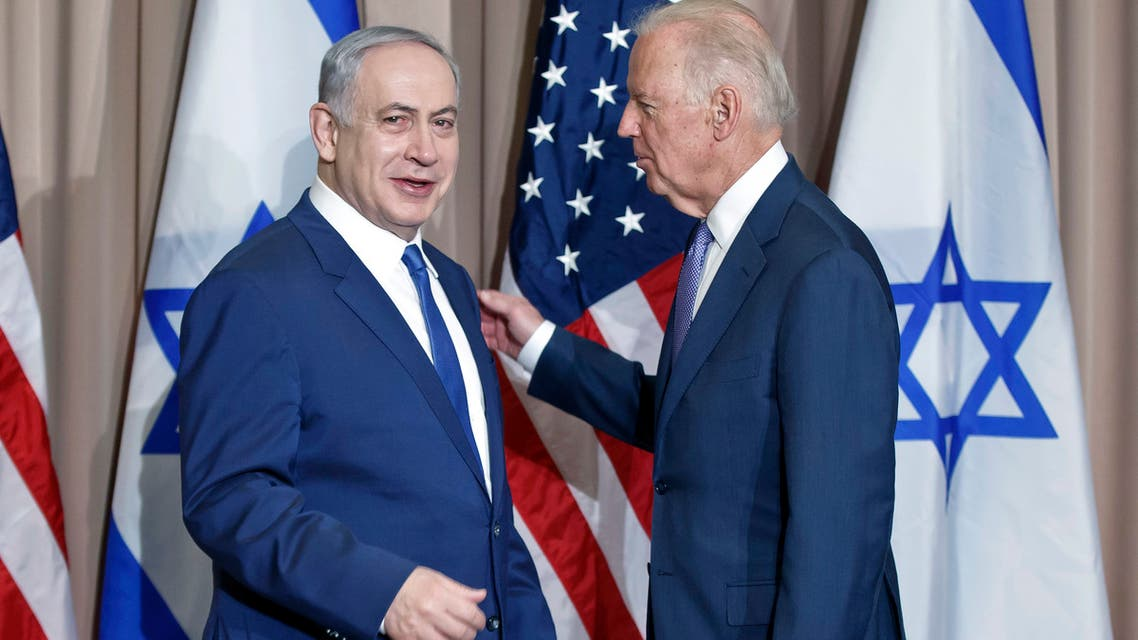 Benjamin Netanyahu, left, and  Joe Biden on the sidelines of the World Economic Forum in Davos, Switzerland, Thursday, Jan. 21, 2016. (File photo: AP)