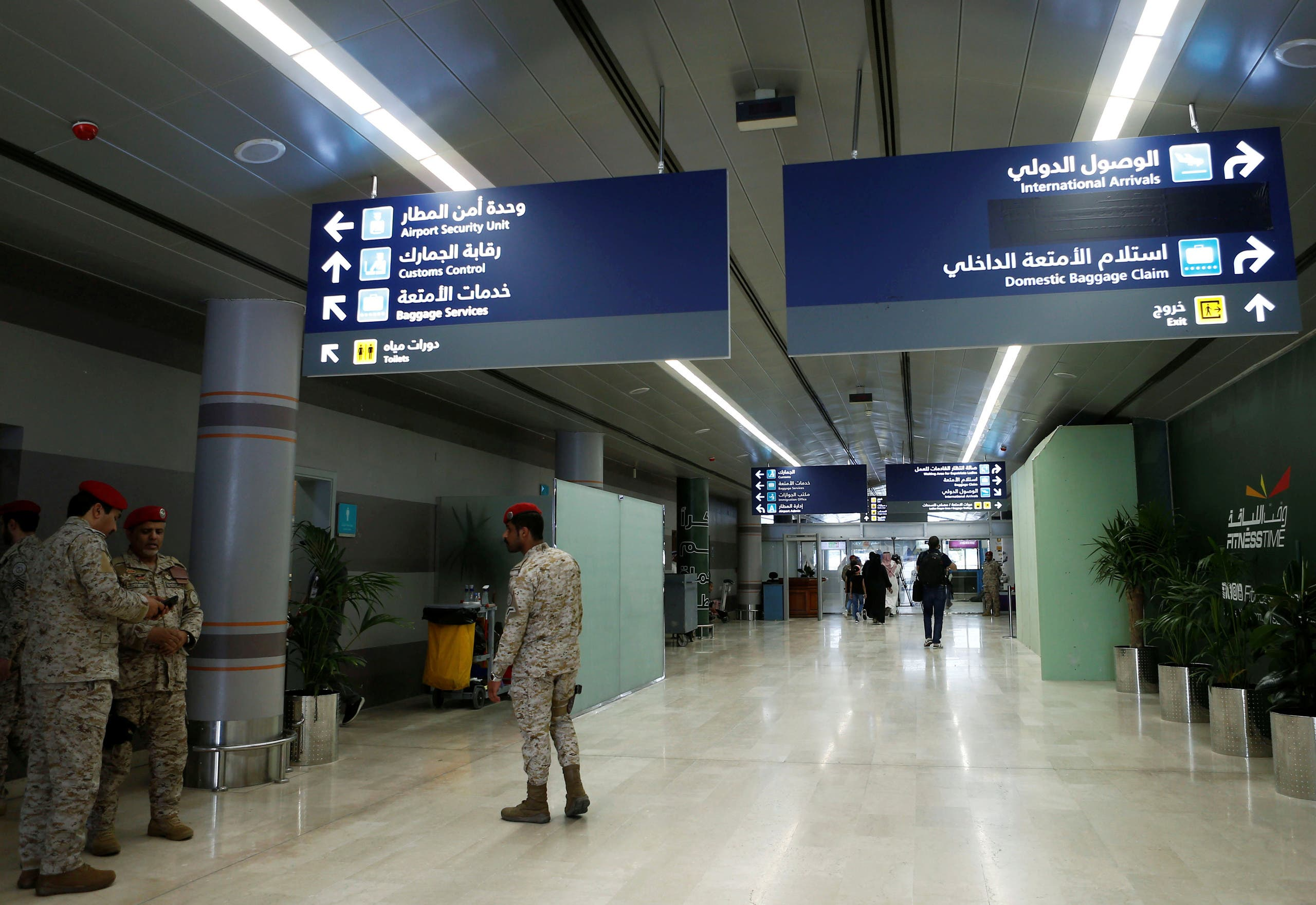 Saudi security officers are seen at Saudi Arabia's Abha airport, after it was attacked by Yemen's Houthi group in Abha. (File photo: Reuters)