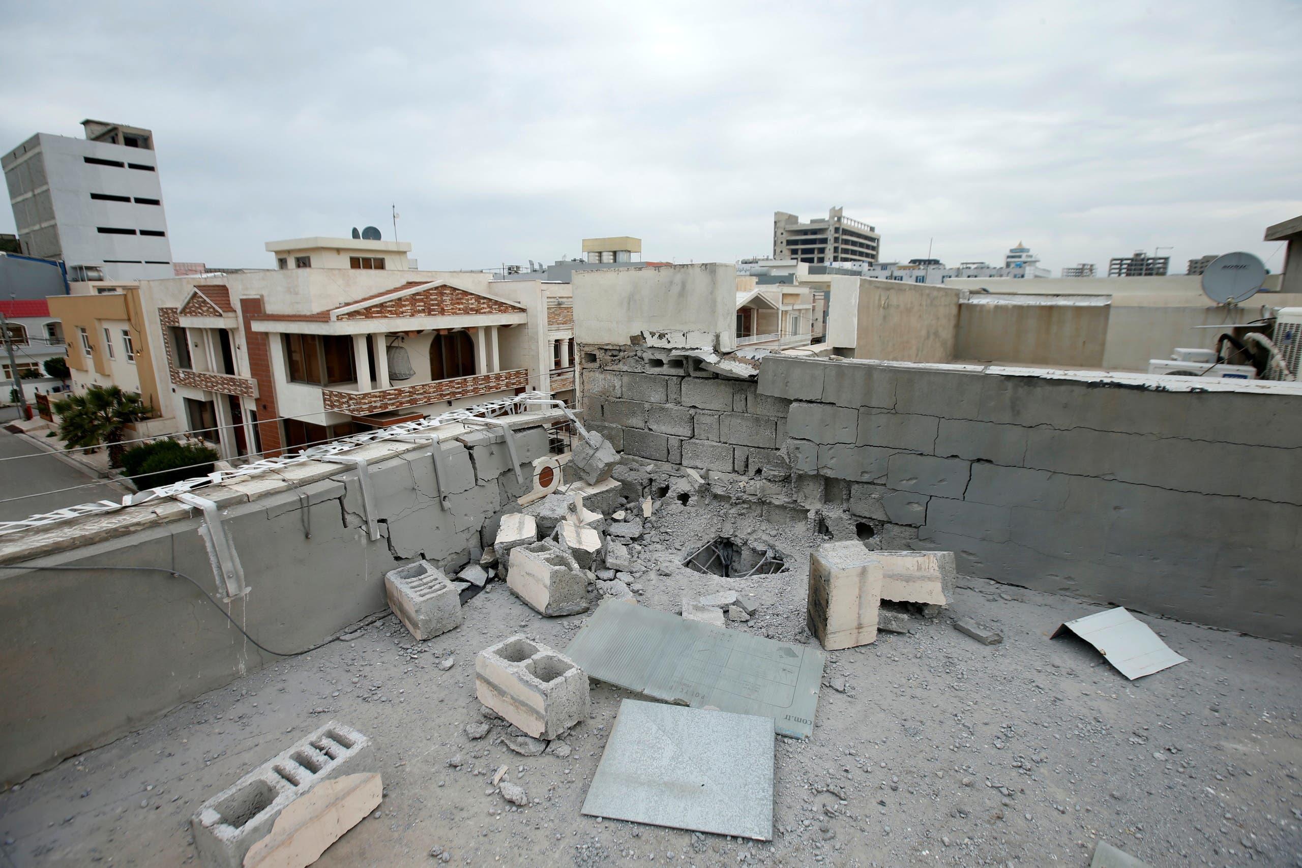 الدمار الذي خلفه الهجوم على القوات الأميركية في اربيل