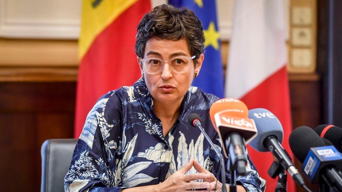 Spanish Foreign Minister Arancha Gonzalez Laya speaks during a joint press conference with Italian Foreign Minister Luigi Di Maio, on the occasion of their meeting at the Prefecture, in Milan, Italy, Tuesday, Sept. 8, 2020. (Claudio Furlan/LaPresse via AP)